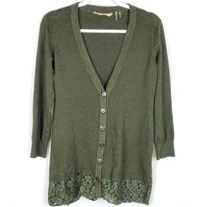Soft Surroundings Lace Cardigan Spruce Green